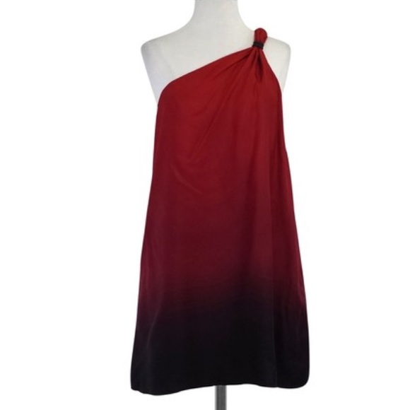 588dd7cb436 Jay Godfrey Red Ombre Silk One Shoulder Dress